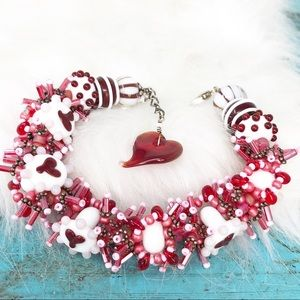 Artisan Sterling Glass Bead Heart Cha Cha Bracelet
